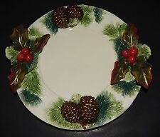 CHRISTMAS DAY Signature Home Collection Holly BERRY and Pine Cone CANAPE PLATE
