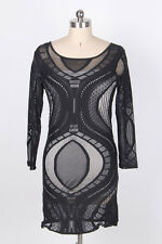 Ladies Evening Black Optical Lace Nude Illusion Sleeveless Bodycon Dress 10-12