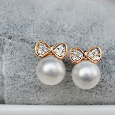 Women Lady Girl Elegant New Butterfly Bow Pearl Stud Earrings Jewelry for Gift