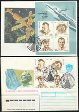 Russia 1991 Day of cosmonautics Space covers Gagarin & Tsiolkovsky