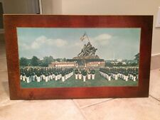 RARE USMC Silent Drill Team Iwo Jima Memorial Wooden Plaque Marine Corps