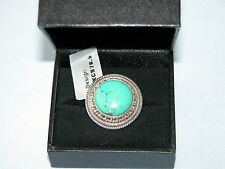 LOT 154 STUNNING GREEN TURQUOISE SOLID STERLING SILVER RING SIZE I 1/2