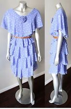 Ruffle Chiffon Brocade Polka Dot Layered Blue Party Festive VTG 80s Dress Sz L