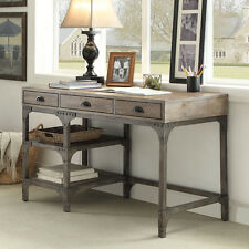Gorden Office Writing Computer Study Desk Weathered Oak Metal Antique Silver