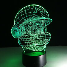 3D Night Light Lamp Colorful Nintendo Mario Jumpman Game Gift Touch Switch Desk