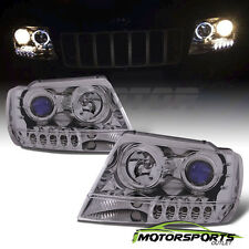 [Dual LED Halo] 1999-2004 Jeep Grand Cherokee Chrome LED Projector Headlights