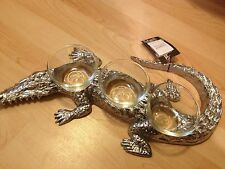 SILVER METAL ALLIGATOR STAND POTTERY BARN 3 CONDIMENT BOWLS Halloween DECOR New