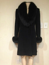 Marvin Richards Women's Winter fox fur Lambswool dress 3/4 Jacket coat size6 new