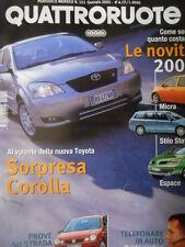 Quattroruote 555 2002 - Test Volkswagen POLO - Toyota Corolla - Novità     [Q34]