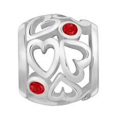Lovelinks Bead Sterling Silver,Heart Spacer Red CZ Fashion Charm Jewelry TT465RD