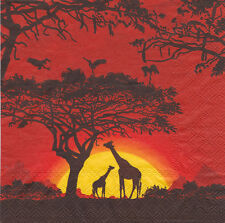 4x unique table serviettes en papier pour découpage / safari sunset / 1194