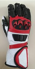 Motorcycle Cowhide Leather Racing Motorbike Gloves Red Excellent Quality