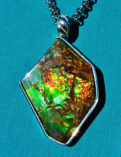 DYNAMIC 31ct. AMMOLITE PENDANT- HANDMADE, SOLID,STERLING SILVER,Feng Shui Prized