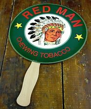 Red Man Chewing Tobacco Indian Chief Headdress Paper Wood Advertising Hand Fan