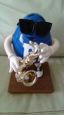 Collectible M&M Candy Dispenser Blue Peanut M&M with Sunglasses and Saxophone