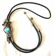 Vintage Navajo Hopi Sandcast Sterling Turquoise Kachina Bolo Tie & Tips 1940's