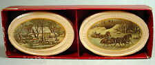 Avon Bar Soap Collector Set Pair of Currier & Ives Pictures Oval Cakes in Box
