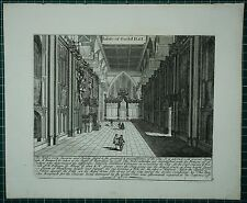 c1730 ANTIQUE LONDON PRINT ~ INTERIOR OF THE GUILD HALL + HISTORY
