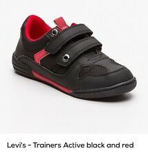Levi's Kid's Boy's Active Negro y Rojo Zapatillas Zapatos Junior UK 3.5 EU 36