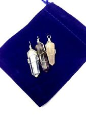 Set of 3 Silver Wire Wrapped Gemstone Pendants-Amethyst, Rose & Clear Quartz