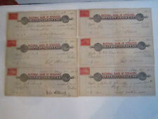 (12) 1899 - 1901 BANK CHECKS WITH STAMPED DOCUMENTARY STAMPS - TUB CCC