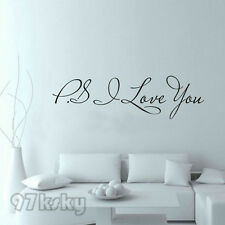 """PS I Love You"" Vinyl Wall Quote Stickers Home Art Sayings Decals Decor RYM"