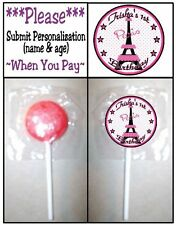 24 Eiffel Tower Paris France Birthday Party OR Baby Shower Lollipop Sticker Pink