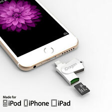 Metal USB i-Flash Drive TF Memory Card Reader Adapter for iPhone 7 6 5 Plus ipad