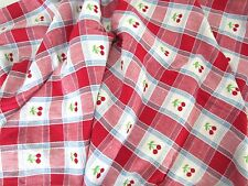 Vintage 40's DINER LOOK  Woven Red Gingham Plaid w CHERRIES Tablecloth 50 x 52
