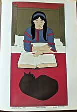 Will Barnet Poster of Child Reading-Red 16x11 Unsigned Offset Lithograph