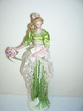 Timeless Tassel Lydia Green Porcelain Hands and Face Tassel Doll Mint