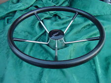 "BOSTON WHALER BLACK FOAM COAT SOFT GRIP 15.5"" STAINLESS STEEL STEERING WHEEL"