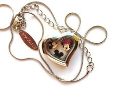 BRACCIALE DISNEY HEART LOCKET SILVER NECKLACE W FLOATING MICKEY MOUSE CHARMS