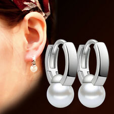 Fashion Women 925 Sterling Silver Freshwater Pearl Simple Ear Clip Hoop Earrings