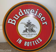 "BUDWEISER IN BOTTLES, ROUND 12"" METAL WALL SIGN, RETRO CAFE/ DINER/PUB/BAR"