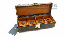 Friedrich Lederwaren Cubano 4pc Watch Case Brown Leather 27021-6 Quality German