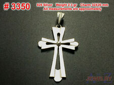 #3350 CROSS Religious Charm Pendant  Jewelry 925 Sterling Silver unique Simple