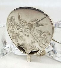 Antique / Victorian Sterling Silver Aesthetic Bird Fan Locket Pendant Necklace