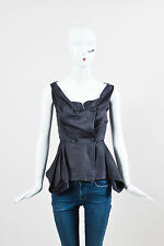 Vivienne Westwood Anglomania Gray Cotton Double Breasted SL Peplum Top SZ 38
