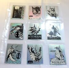 C.1992 9 x rare batman returns panini foil chase autocollants (vgc/mint) lot #05