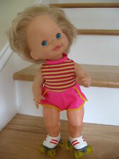 """VTG 1980 BABY SKATES Roller Skating Doll Wind Up Toy No Batteries Needed 15""""Tall"""