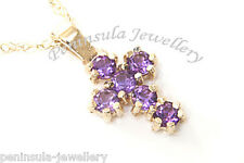 9ct Gold Amethyst Cross Pendant and Chain Boxed Made in UK