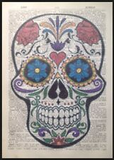 Candy Sugar Skull Print Vintage Dictionary Page Wall Art Picture Bright Roses