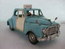 Vintage  Transpor Old Blue Police Car / Tin Plate Model /Ornament /Gift/