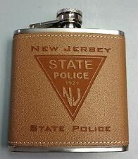 NJSP New Jersey State Police Leather & Stainless Steel 6oz Flask