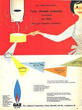 PUBLICITE ADVERTISING 015  1957  GAZ DE VILLE  l'eau chaude