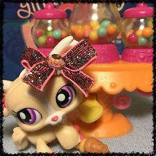 Littlest Pet Shop CREAM PINK WHITE CHIHUAHUA DOG PURPLE EYES 1892 w/ Accessories