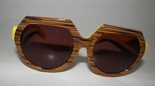 Karen Walker Fight On Sunglasses Wood Tone And Yellow Round Frame RRP $250