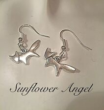 Handmade Vintage style, Tibetan Silver, small fox, Hook Earrings
