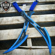 """2 PC 24"""" TACTICAL SURVIVAL Fixed Blade ZOMBIE MACHETE Hunting Sword Knife Blue"""